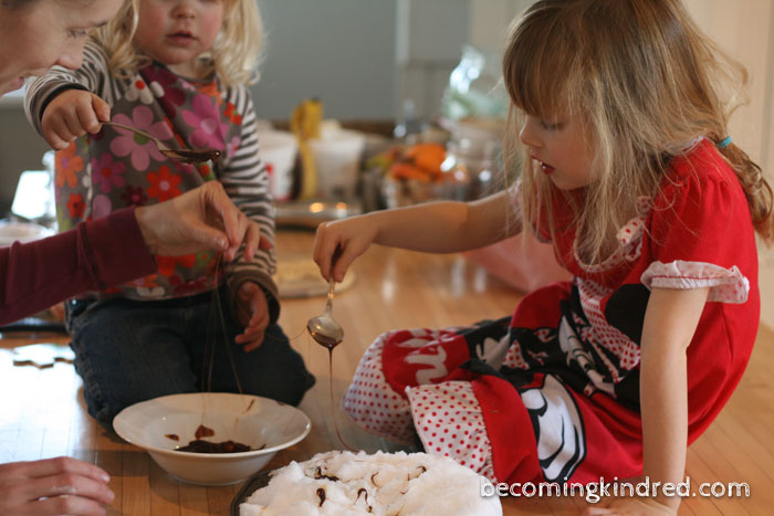 Aneliese asked to make molasses candy on snow; inspired by Little House: Christmas in the Big Woods.